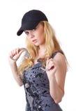 白肤金发的手铐妇女 库存图片