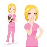 白肤金发的护士符号沈默 免版税库存图片