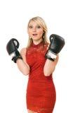 白肤金发的拳击迷人的女孩手套 免版税库存照片