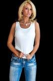 白肤金发的时装模特儿 免版税图库摄影