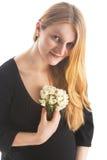 白肤金发的柔和的怀孕的俏丽的妇女 免版税库存图片