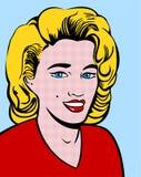 白肤金发的流行艺术妇女 库存照片