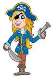 白肤金发的海盗妇女 免版税库存照片