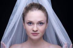 白肤金发的特写镜头织品女孩纵向白&# 库存图片