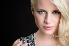 白肤金发的特写镜头妇女 免版税库存图片