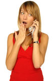 白肤金发的电池女孩电话 免版税库存照片