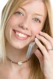 白肤金发的电话妇女 免版税库存图片
