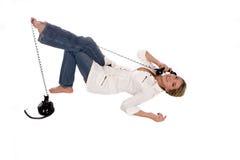 白肤金发的电话 免版税库存照片