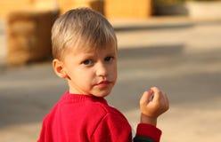 白肤金发的男孩逗人喜爱的红色衬衣 免版税库存照片