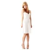 白肤金发的礼服女孩青少年的白色 免版税库存照片