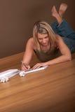 白肤金发的系列学员妇女年轻人 免版税库存图片