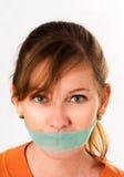 白肤金发的绿色小片妇女 免版税图库摄影