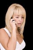白肤金发的联系的妇女 库存照片