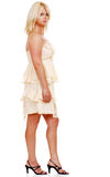 白肤金发的脚跟高妇女 免版税库存图片