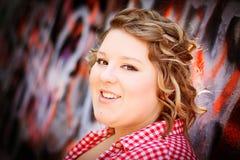 年轻白肤金发的青少年的女孩 免版税库存照片