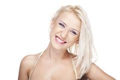 白肤金发的面带笑容 免版税库存照片