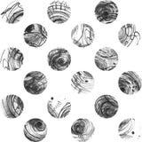 黑白背景,根据手拉的墨水盘旋,手工制造在徒手画的样式,简明,不完美,在织地不很细watercolo 库存图片