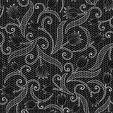 白色与郁金香的鞋带无缝的样式在黑背景 免版税库存图片