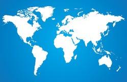 白色世界地图 免版税库存照片
