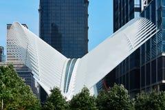 白色世界贸易中心驻地的Oculus外部在纽约 免版税库存图片