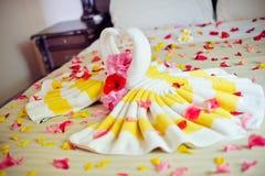 白色两毛巾天鹅和红色玫瑰在床上在蜂蜜虚度衣服 免版税图库摄影