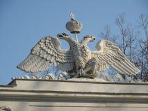 白色二重带头的老鹰徽章 免版税库存照片