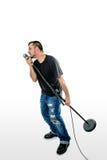 白色倾斜的举的mic立场的歌手歌唱者 免版税图库摄影