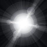 白色光亮的圈子和星灰色背景 免版税库存照片