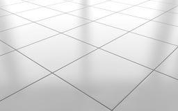 白色光滑的陶瓷砖地板背景 3d翻译 向量例证
