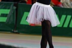 白色公主裙子 白色魅力薄纱芭蕾舞女演员裙子 岩石` n `卷的裙子 图库摄影