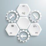 3白色六角形3个齿轮周期箭头 图库摄影