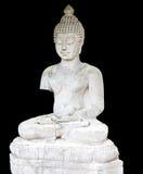 白色兰纳泰国菩萨雕象黑色背景 库存图片