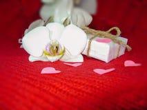 白色兰花和礼物盒在红色背景,情人节背景 小纸心脏 免版税图库摄影