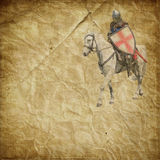 白色军马的-减速火箭的明信片装甲的骑士 免版税库存照片