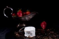 白色冰淇凌用巧克力和草莓 库存图片