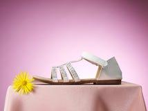 白色凉鞋 图库摄影