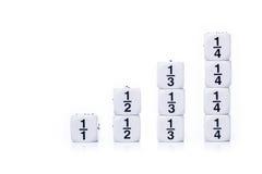 白色分数在白色背景切成小方块 库存照片