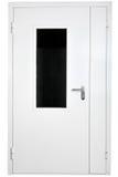 白色加强了钢门与玻璃,被隔绝在白色后面 免版税库存图片