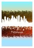 白色匹兹堡的地平线蓝色和 库存例证