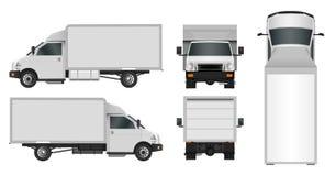 白色卡车模板 在白色背景EPS 10隔绝的Cargo van Vector例证 城市营运汽车送货业务 库存例证