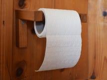 白色卷仿造了垂悬在木持有人的卫生纸 库存图片