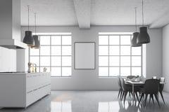 白色厨房角落,方形的窗口,海报边 图库摄影