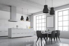 白色厨房角落,方形的窗口,海报 免版税库存图片