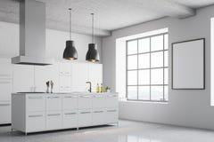 白色厨房角落,方形的窗口 免版税图库摄影