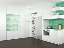 白色厨房设计有洗衣机的 图库摄影