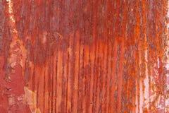 从白色变成红颜色的老生锈金属片 库存图片
