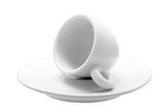 白色古典30 ml浓咖啡咖啡的杯子  免版税库存照片