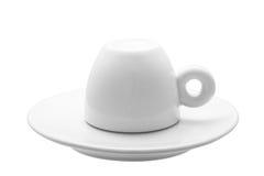 白色古典30 ml浓咖啡咖啡的杯子  免版税库存图片