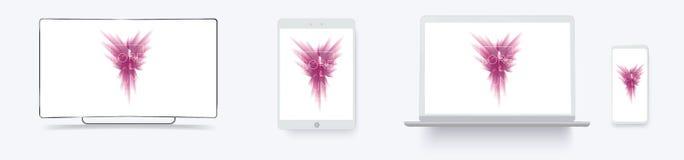 白色台式电脑计算机显示器屏幕智能手机便携式的笔记本 概述大模型电子设备打电话和膝上型计算机,电视 向量例证