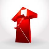 白色台阶梯子打开在大红色的门成功事务 免版税库存照片